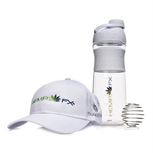 Picture of Hemp FX™ Blender Bottle® (White) Hemp FX™ logo Hat (White)